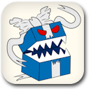 Birthday Evil Blue Present Badge Image