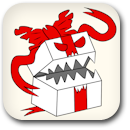 Birthday Evil White Present Badge Image