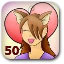 Marked 50 characters loved Badge Image
